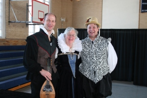 William Shakespeare (played by Gilman Headmaster Henry Smyth), Queen Elizabeth (played by RPCS Head of School Jean Brune), and Ron Heneghan of Chesapeake Shakespeare Company.