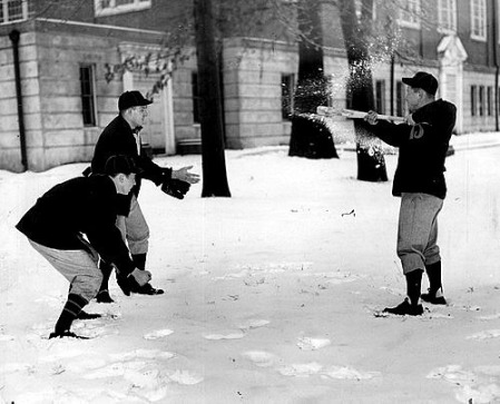 From left, Charles Price, Ab Tredeman and Jack Moesch play pepper with snowballs during Orioles training camp at Gilman in 1944.
