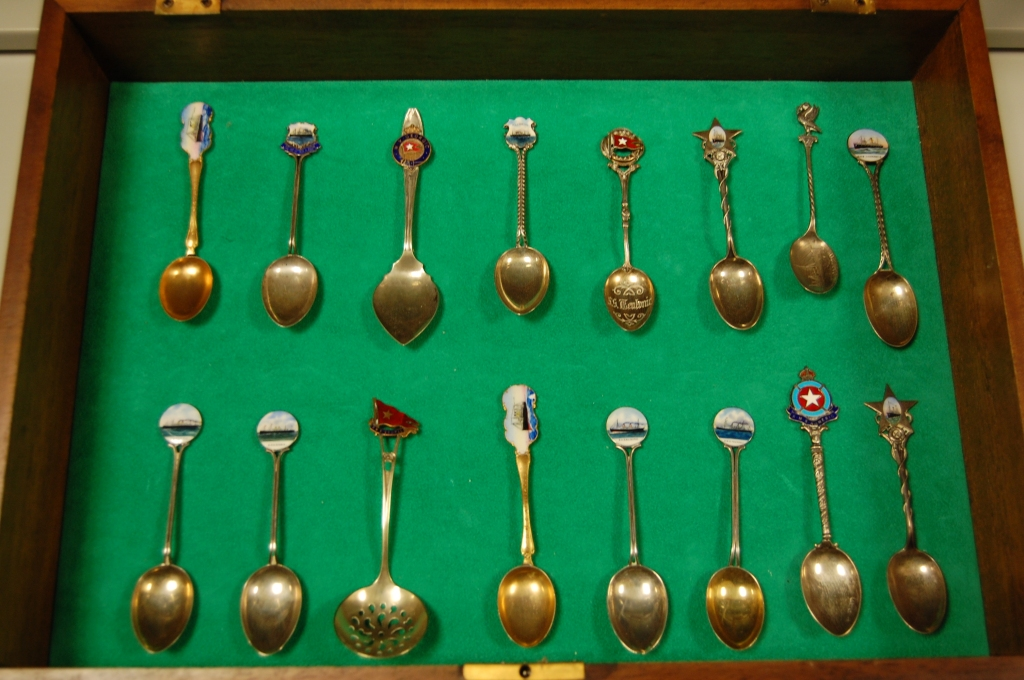 Walter Lord's collection of spoons from various ships are included in Gilman's collection.