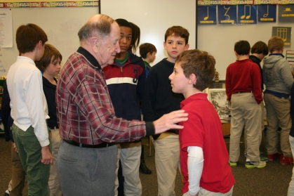 88-year-old Rubin Sztajer of Timonium spoke to fifth grade students and parents about his experience as a Holocaust survivor.
