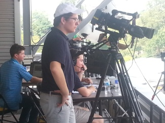 The Greyhound TV crew in action at the Gilman Football game against Paramus Catholic at Towson University. Photo by Cynosure staff.